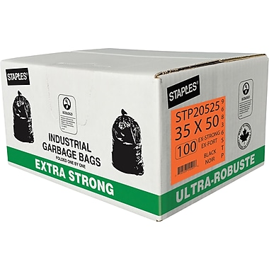 Staples Garbage Bags, Extra Strong, Black, 35