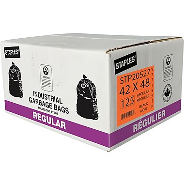 Staples Garbage Bags, Regular, Black, 42