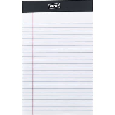 "Staples® Perforated Legal Pad, Junior Size 5"" x 8"", Narrow Ruled, White, 12/Pack"