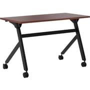 "basyx by HON Multi-Purpose Table, Flip Base, 48""W x 24""D, Chestnut Laminate, Black Finish"