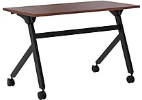 basyx by HON Multi-Purpose Table, Flip Base, 48'W x 24'D, Chestnut Laminate, Black Finish