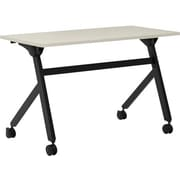 "basyx by HON Multi-Purpose Table, Flip Base, 48""W x 24""D, Light Gray Laminate, Black Finish"