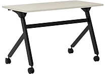 basyx by HON Multi-Purpose Table, Flip Base, 48'W x 24'D, Light Gray Laminate, Black Finish