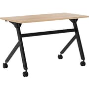 "basyx by HON Multi-Purpose Table, Flip Base, 48""W x 24""D, Wheat Laminate, Black Finish"