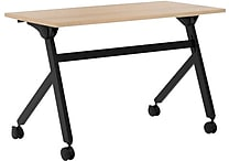 basyx by HON Multi-Purpose Table, Flip Base, 48'W x 24'D, Wheat Laminate, Black Finish
