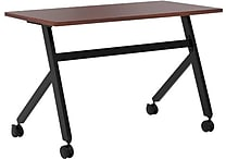 basyx by HON Multi-Purpose Table, Fixed Base, 48'W x 24'D, Chestnut Laminate, Black Finish