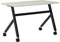 basyx by HON Multi-Purpose Table, Fixed Base, 48'W x 24'D, Light Gray Laminate, Black Finish