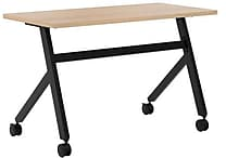 basyx by HON Multi-Purpose Table, Fixed Base, 48'W x 24'D, Wheat Laminate, Black Finish