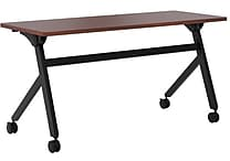 basyx by HON Multi-Purpose Table, Flip Base, 60'W x 24'D, Chestnut Laminate, Black Finish
