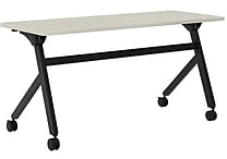 basyx by HON Multi-Purpose Table, Flip Base, 60'W x 24'D, Light Gray Laminate, Black Finish