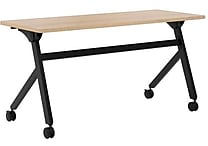 basyx by HON Multi-Purpose Table, Flip Base, 60'W x 24'D, Wheat Laminate, Black Finish