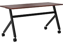 basyx by HON Multi-Purpose Table, Fixed Base, 60'W x 24'D, Chestnut Laminate, Black Finish