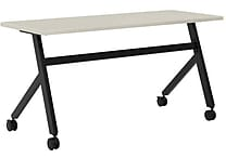 basyx by HON Multi-Purpose Table, Fixed Base, 60'W x 24'D, Light Gray Laminate, Black Finish