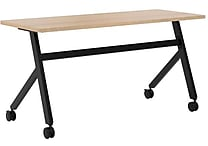 basyx by HON Multi-Purpose Table, Fixed Base, 60'W x 24'D, Wheat Laminate, Black Finish