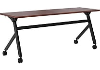 basyx by HON Multi-Purpose Table, Flip Base, 72'W x 24'D, Chestnut Laminate, Black Finish