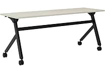 basyx by HON Multi-Purpose Table, Flip Base, 72'W x 24'D, Light Gray Laminate, Black Finish