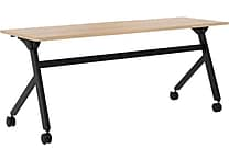 basyx by HON Multi-Purpose Table, Flip Base, 72'W x 24'D, Wheat Laminate, Black Finish