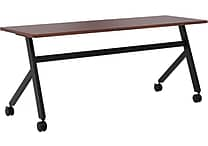 basyx by HON Multi-Purpose Table, Fixed Base, 72'W x 24'D, Chestnut Laminate, Black Finish