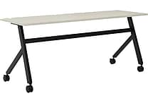 basyx by HON Multi-Purpose Table, Fixed Base, 72'W x 24'D, Light Gray Laminate, Black Finish
