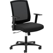 basyx by HON® BSXVL511LH10 VL511 Fabric Mesh Back Mid-Back Office Chair with Fixed Arms, Black