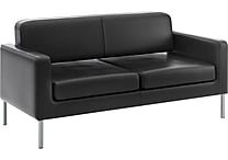 basyx by HON HVL888 Sofa for Two, Black SofThread Leather