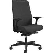 HON Endorse Mid-Back Task Chair, Fabric Outer Back, Lumbar Adjustment, Black Mesh, Black Fabric