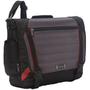 Kenneth Cole Reaction Messenger Bag with Tablet/iPad Pocket, Black/ Grey/ Red, 17