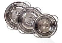 Chef Buddy™ 3-Piece Stainless Steel Colander Set, Silver