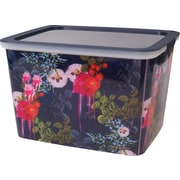 "Cynthia Rowley 10"" Storage Box, Dark Blue Floral (27100)"