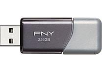 PNY Turbo USB 3.0 Flash Drive, Silver/Black
