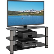 "Sonax™ New York 42"" Metal & Glass TV Stand, Gun Metal"