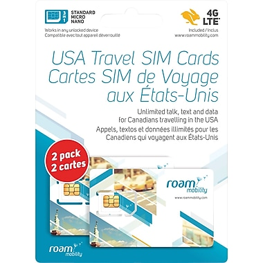 Roam 4G LTE Sim Card, 2/Pack