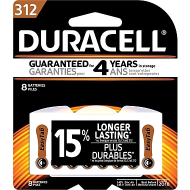 Duracell® 1.4 Volt Hearing Aid Zinc Air EasyTab Batteries, Size 312, 8/Pack