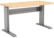 Electric Height Adjustable Eficiente LT Silver Base with Thermally Fused Hardrock Maple Worksurface Rectangle 24 inch x 60 inch