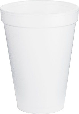 Dart Foam Drink Cups, 12 oz, White, Foam, 1000/Carton (12J16) DCC12J16
