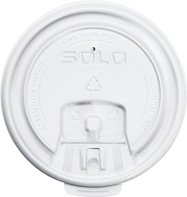 SOLO Cup Company Lift Back & Lock Tab Cup Lids, White, Plastic, 1000/Carton (LB3081-00007) SCCLB3081