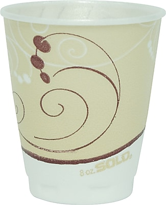 SOLO Cup Company Trophy Plus Dual Temperature Insulated Cups in Symphony Design, 8 oz, Tan, Foam, 100/Pack (X8-J8002) SCCX8J8002PK