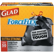 Drawstring Outdoor Trash Bags, Forceflex, 30 x 32, Black, 50/Bx