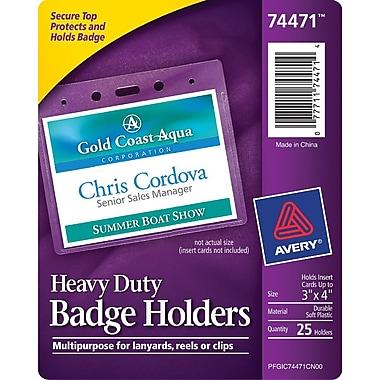 Avery® 74471 Vinyl Badge Holder, Horizontal, 3