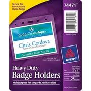 """Avery® 74471 Vinyl Badge Holder, Horizontal, 3"""" x 4"""", 25/Pack"""