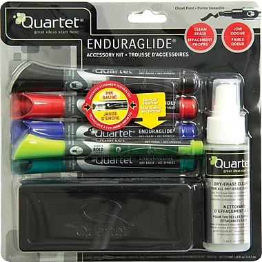 Quartet® EnduraGlide® Chisel Tip Dry - Erase Markers Accessory Kit, Assorted colours, 4/Pack