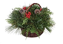 Fresh-Cut Decorated Christmas Basket, Various Delivery Dates