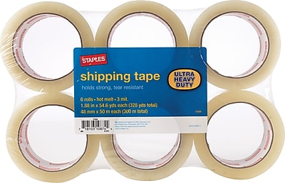 "Staples® Ultra-Heavy-Duty Shipping Tape, 3"" Core, Clear, 1.88"" x 54.6 Yards, 6/Pk"