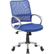 Boss Mesh Back W/ Pewter Finish Blue Task Chair