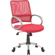 Boss Mesh Executive Office Chair, Adjustable Arms, Red (B6416-RD)