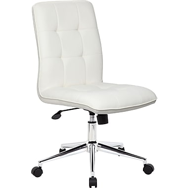 boss leather executive office chair armless white b330