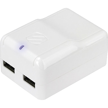 Scosche reVOLT h2 Dual USB Wall Charger, White