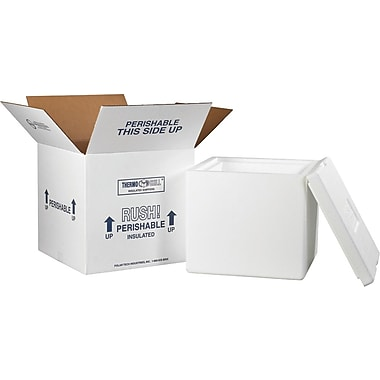 12in.(L) x 12in.(W) x 11 1/2in.(H) - Staples Insulated Shipping Container, 1 Kit/Case