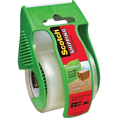 Scotch(R) Greener Commercial Grade Shipping Tape, with Dispenser, 1.88in. x 700in.