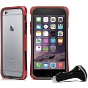 Macally Durable Protective Frame Case for iPhone 6 with Car Charger, Red